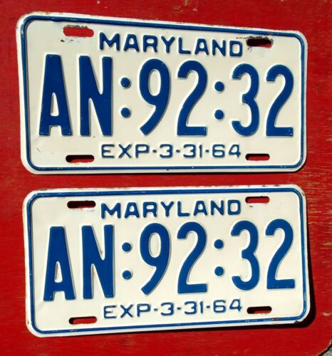 1964 Maryland Nice Original PAIR  AN-92-32  License Plates