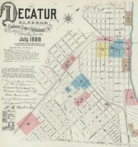 Decatur, Alabama Sanborn Map© sheets made in 1884 and 1888~ CD~11 maps in color