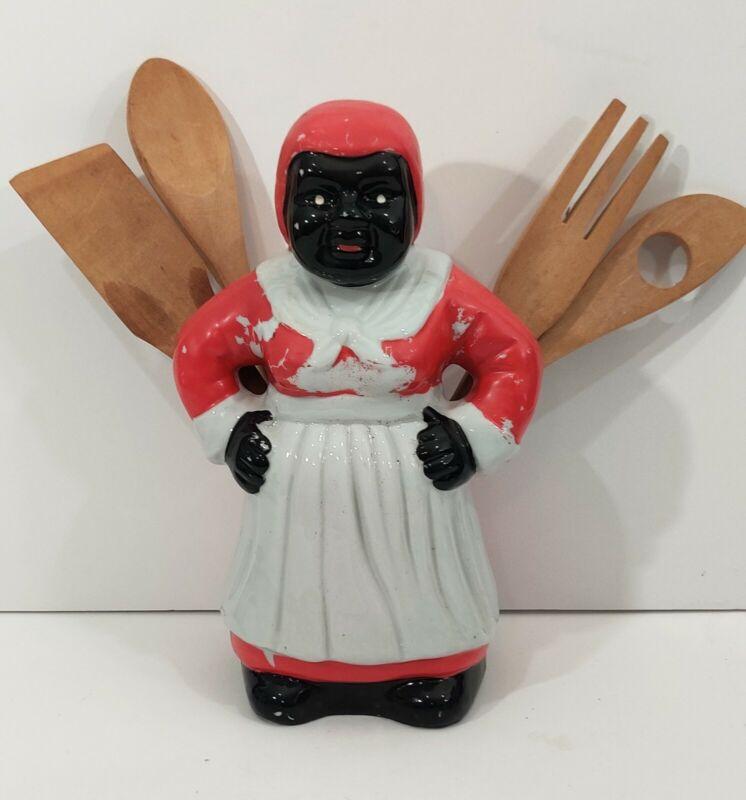 Rare Vintage Aunt Jamima Kitchen Tool Holder w/ Utensils