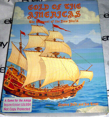 "Commodore AMIGA 100% Complete GOLD OF THE AMERICAS Big Box 3.5"" disk SSG 1989"