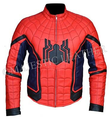 New Spiderman Homecoming  Costume Faux Leather Jacket - Leather Spiderman Costume