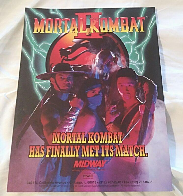 Mortal Kombat 2 Arcade 1993 Original Midway Video Game Flyer NICE!