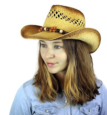 Cowgirl Cowboy Western Straw Hat Tea-Stained Beaded Summer Beach Sun Cap Onesize (Cowgirl Hat)