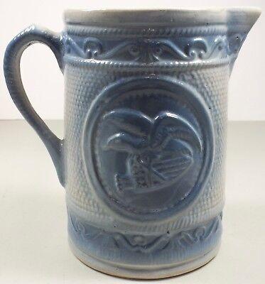Blue Heraldic Eagle & Shield Stoneware Pottery Heavy Pitcher  ~Great -