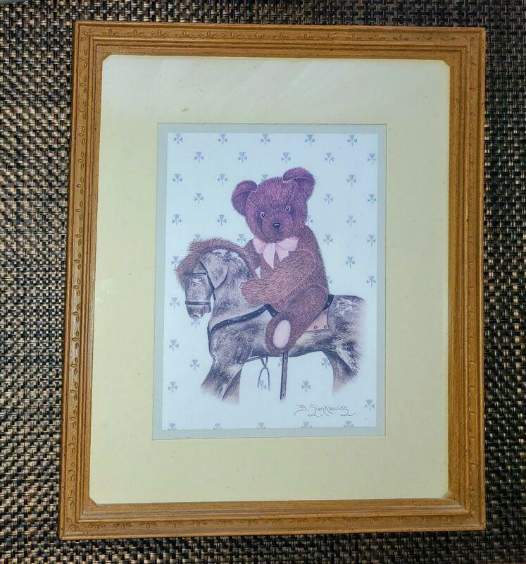 Vintage HOMCO Teddy Bear Framed Print Signed by B. Sienkiewicz