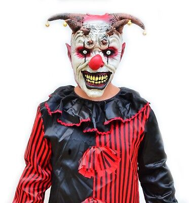Evil Scary Halloween Red & Black Adult Mens Killer Clown Costume & Mask JESTER](Mens Evil Clown Halloween Costumes)