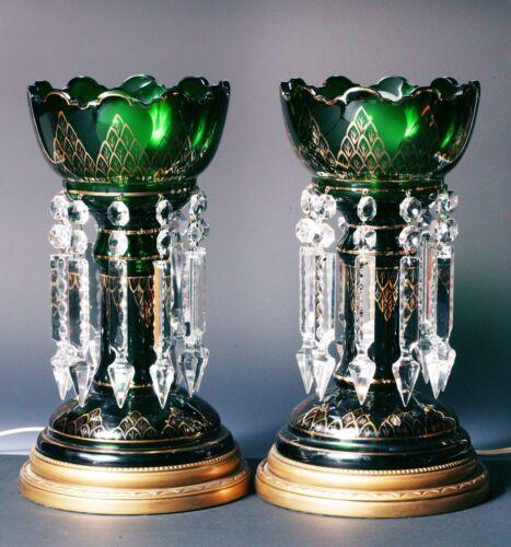 Antique Bohemian Mantle Lusters - Dark Emerald Green - Vintage - ELECTRIFIED !!