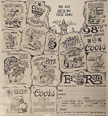 Ed Roth Big Daddy Print Ad Flyer Gotta Dig These Gems Send For Catalog 1966 - Dig For Gems