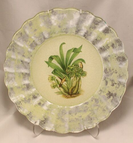 """Lesley Roy Fluted Humming Birds Crackle Charger Plate w/ hanging hardware 13.75"""""""