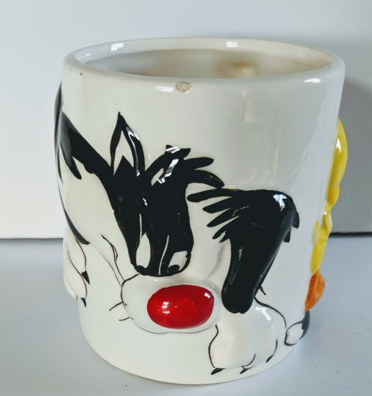 Sylvester and Tweety Bird 3D Vtg 1999 Looney Tunes Gibson Large Coffee mug cup