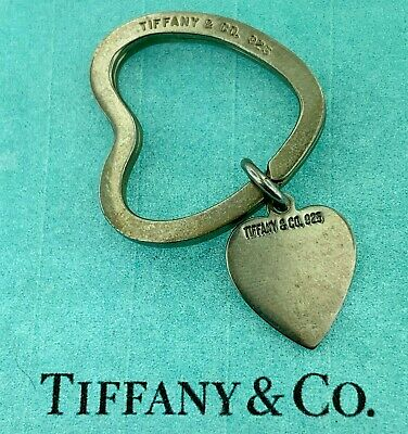 NEW Tiffany & Co 925 Key Chain Sterling Silver Key Ring Heart Charm