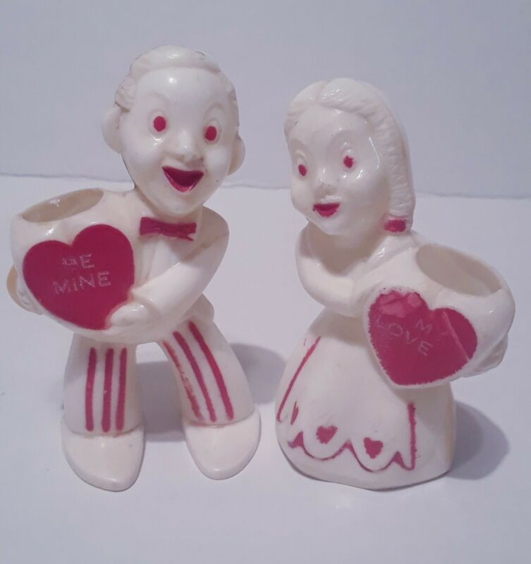 """Vintage Hard Plastic Rosbro Valentine's Day Candy Containers Boy Girl 3 1/2"""""""