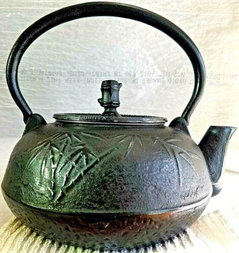 "Japanese Tetsubin Iron Ceremonial Tea Kettle Kafun Hobnail 1960 Era Bamboo ""Gem"""