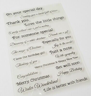 22 SENTIMENTS CLEAR STAMPS-GREETINGS/SAYINGS LARGE SILICONE WORDS-CHRISTMAS XMAS
