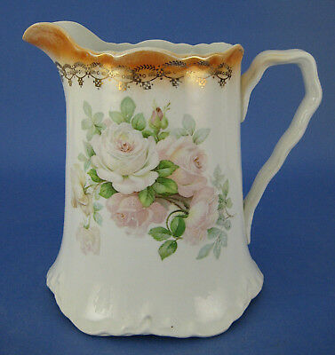 Imperial China Pitcher White Peach Luster Band Roses Flowers