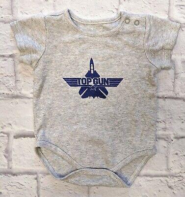 Top Gun Unisex Baby One Piece Shirt Newborn Gray Short Sleeve Cotton Movie Cotton Baby One Piece