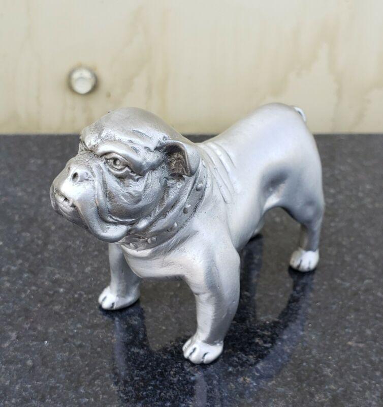 Silver Pewter Metal Boxer Bulldog Dog Figurine Sculpture Mack Paperweight VTG