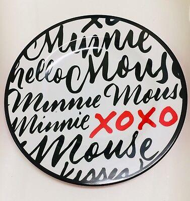 NIB Disney Parks Minnie Mouse XOXO Black / Red / White Dinner Plate 11