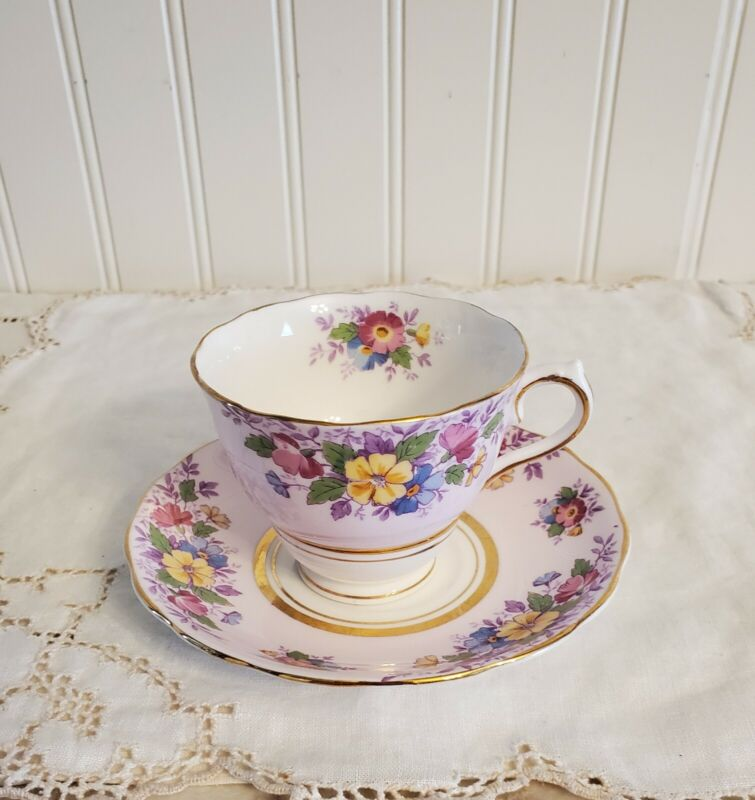 VTG Colclough Tea Cup & Saucer Pink Blue Yellow Flowers On Pink Accented Gold