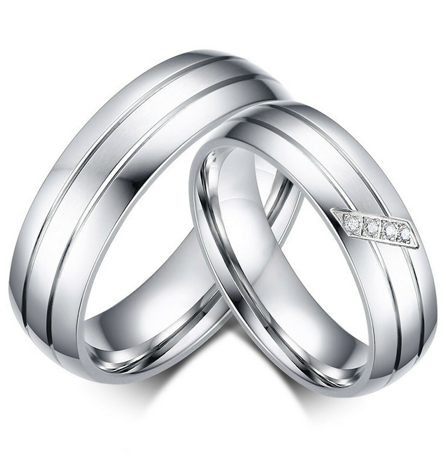 Couple's Matching Ring, His or Hers Stainless Steel Comfort Fit Wedding Band Fashion Jewelry