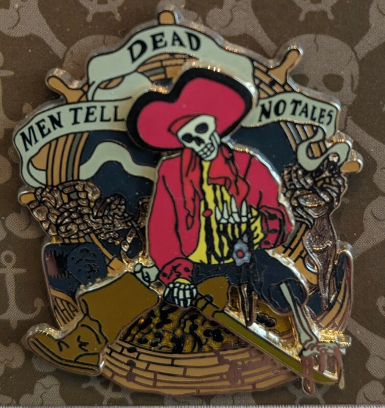 "Disney Pirates of the Caribbean ""Dead Men Tell No Tales"" Skeleton Pin"