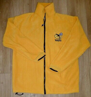 WASPS RUGBY-Ribbed Fleece Top-Full Zip-NEW-YELLOW/GOLD Embroidered-LARGE(46/48)