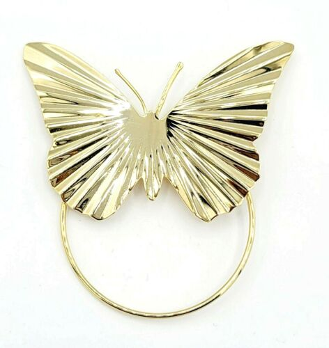 """Vintage Gold Tone Butterfly Scarf Clip Large 3"""" Estate Jewelry"""