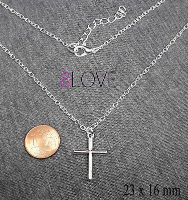 Collana Croce Argento catena con ciondolo Portafortuna Idea Regalo da Uomo Donna