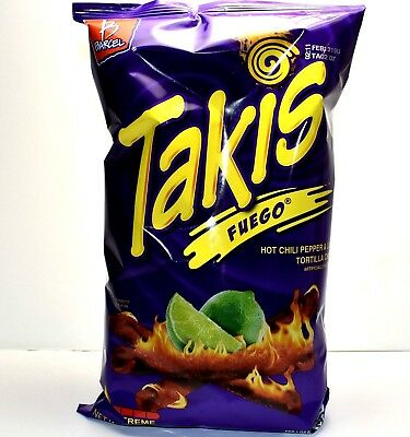 TAKIS FUEGO HOT CHILI PEPPER LIME TORTILLA CHIPS 9.9 OZ BAG Packaged in a - Tortilla Chip