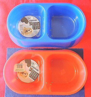 Dog Cat Pet Double Diner Bowl Food & Water Dish Starplast Plastic Red or -