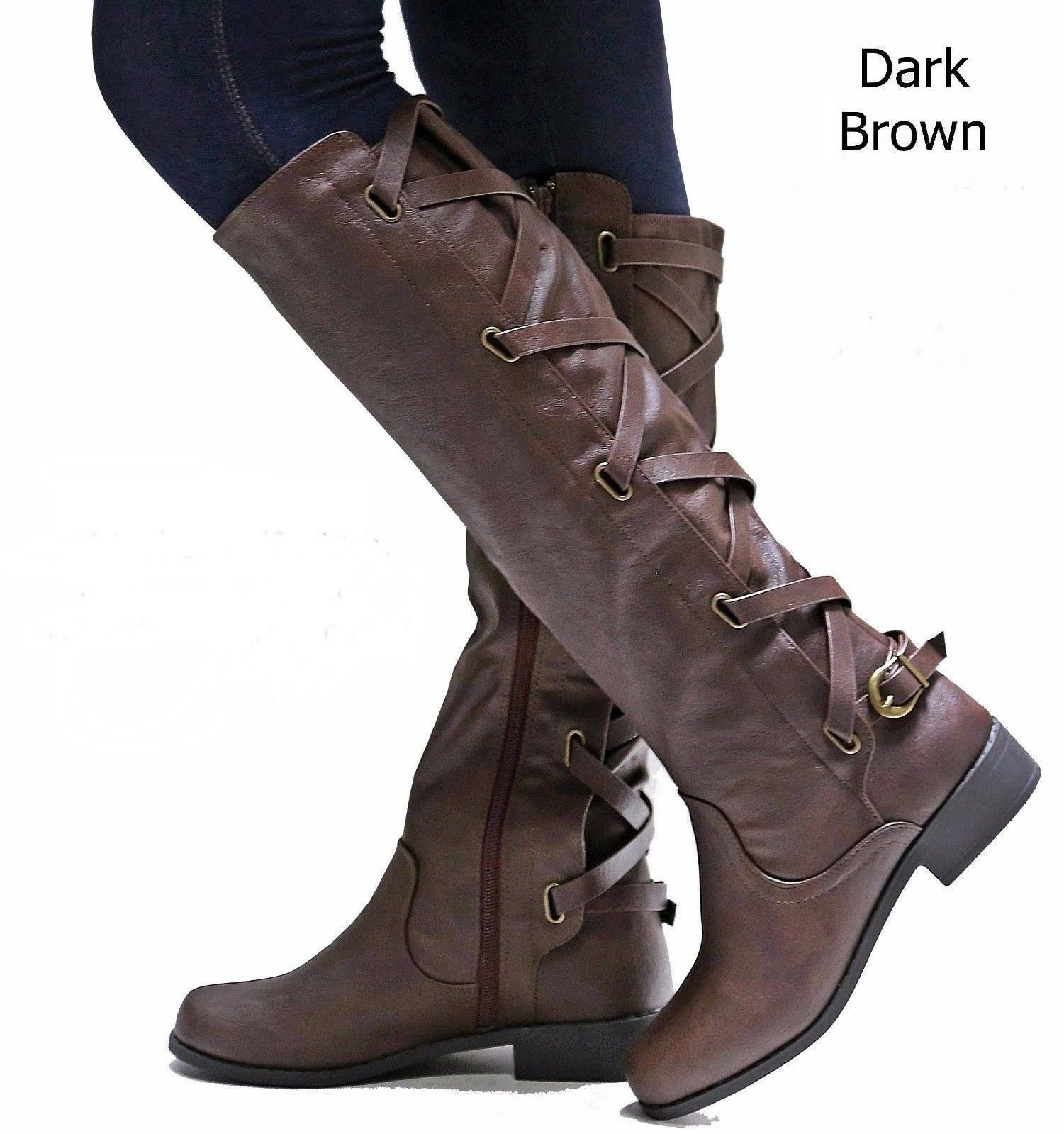 New Women Ecd Brown Black Buckle Riding Knee High Cowboy Boots 5.5 to 11