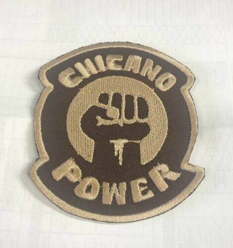 CHICANO POWER PATCH IRON ON 3 INCH BROWN FIST LOGO BRAND NEW