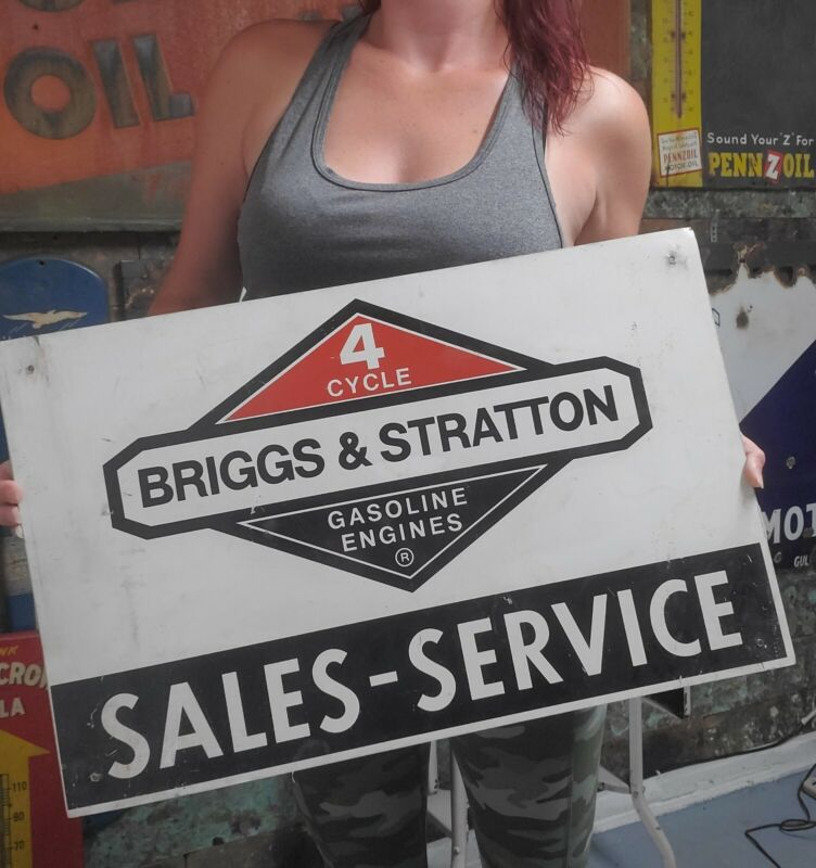 Vintage Briggs Stratton Double Sided Metal Service Sign Gasoline Gas Oil