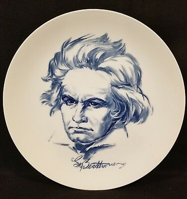 """Rare Meissen China Blue Ludwig van Beethoven 10"""" Collectors Plate 1971"""