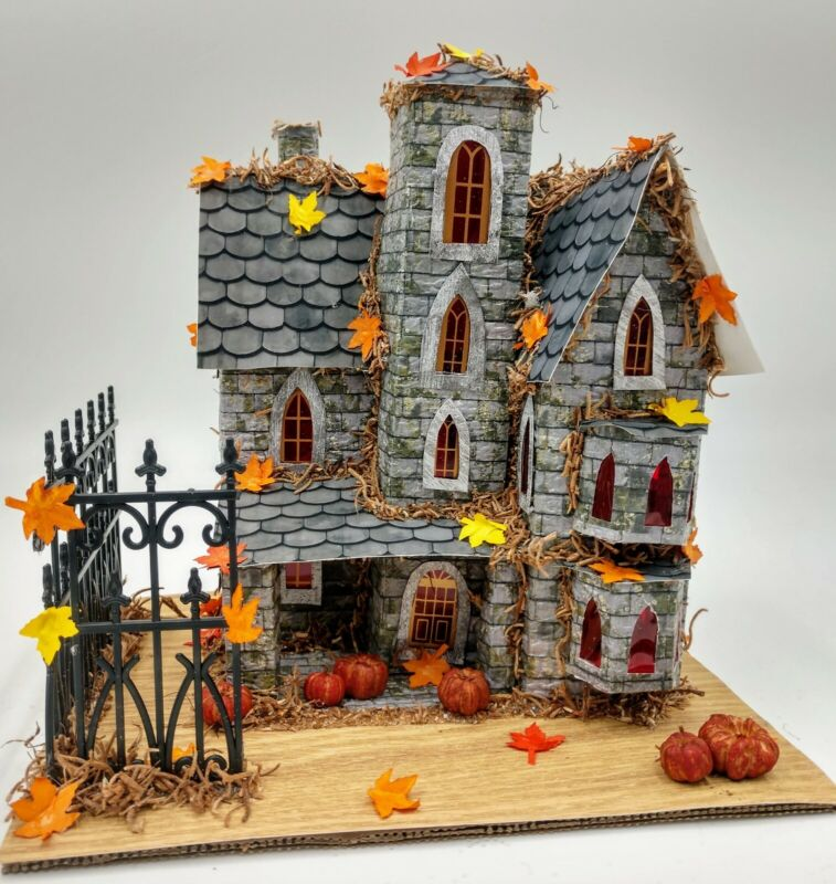 Creepy Crooked Halloween Mansion Paper Putz House