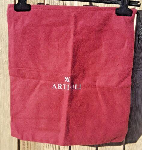 "NEW Artioli Burgundy Felt/Cotton Drawstring Dustbag - 15"" x 13.5"""
