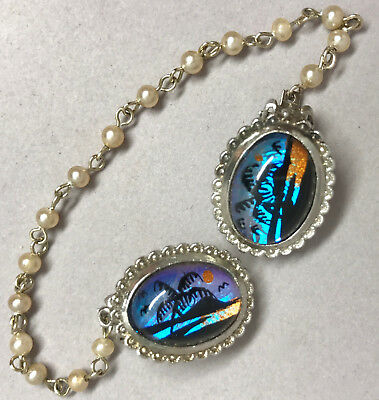 Jeweled Sweater Clip Butterfly Wing Palm Beach Ocean Pearl Silver Tone Chain Vtg - Jeweled Butterfly Wing