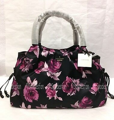Kate Spade PXRU6451 Classic Nylon Floral STEVIE Baby Diaper Bag BLACK Multi NWT