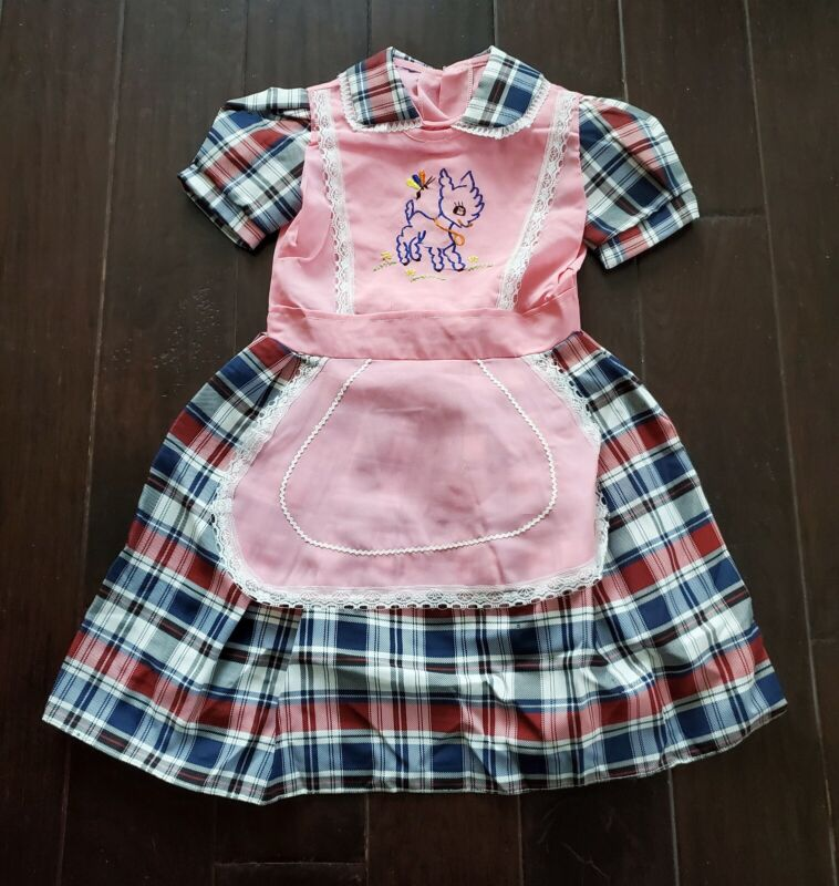 Vtg 70s Pinafore Apron Embroidered Bambi Pink Plaid Lace Prarie Farm Dress NOS