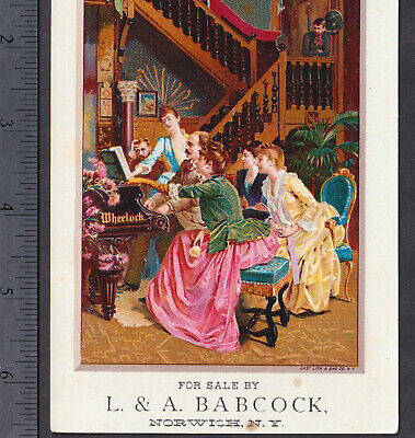 Wheelock Piano 1800's Norwich NY Music Store Parlor Recital Victorian Trade Card