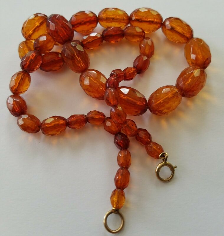 """ANTIQUE VINTAGE  BALTIC AMBER FACETED GRADUATED VICTORIAN ERA BEADS 20"""" NECKLACE"""