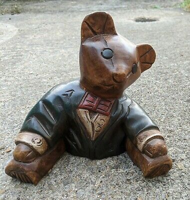 Handsome Hand Carved Wooden Teddy Bear in dinner jacket and bow tie. Rare.