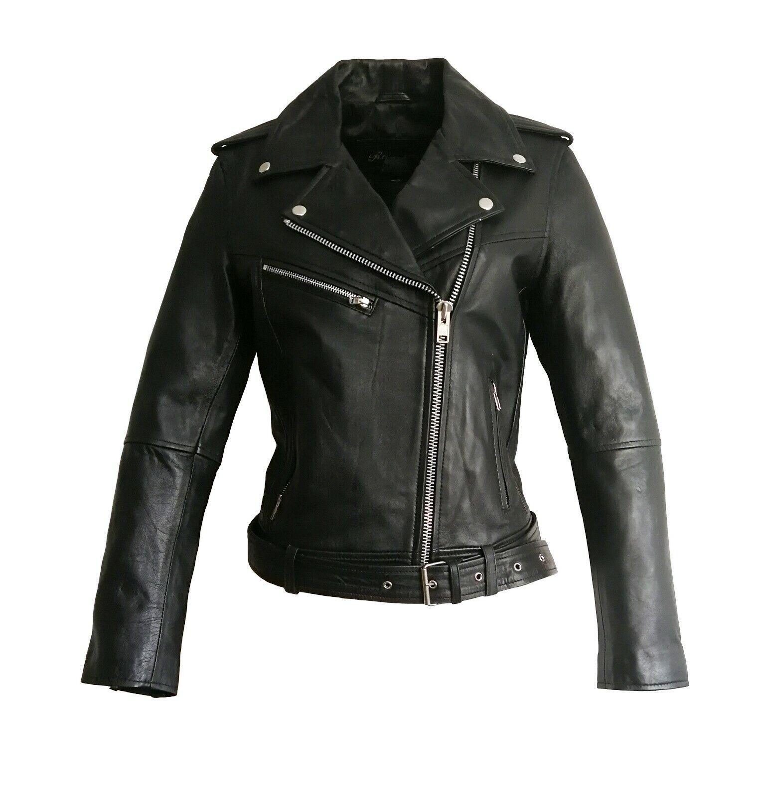 Damen Bikerjacke Lederjacke Brando Girl RB schwarz aus Lammnappa Leder