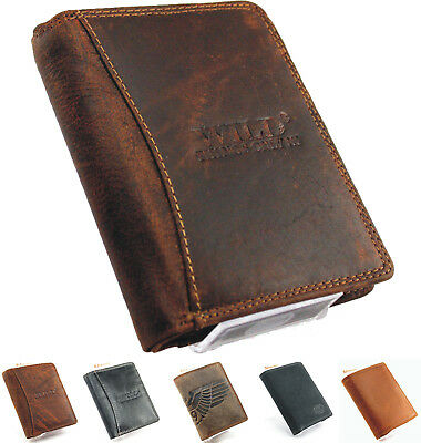 Echt Leder Herren Portemonnaie Brieftasche,Geldbörse,Wallet Wild SJ-00114  - Brieftasche Braun Herren Portemonnaies