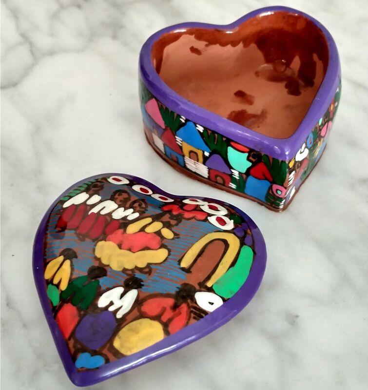 Heart Shape Painted Vintage Southwestern Folk Art Terra Cotta Pottery Jewel Box