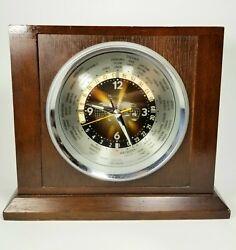 Bulova World Time Zone Clock Mantle Or Desk Mid Century Mordern Drk Wood Working