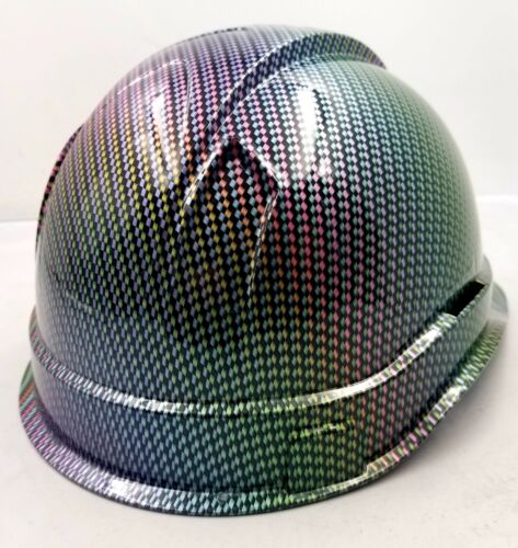 Hard Hat custom hydro dipped , OSHA approved NEO CHROME CARBON FIBER NEW SICK 3
