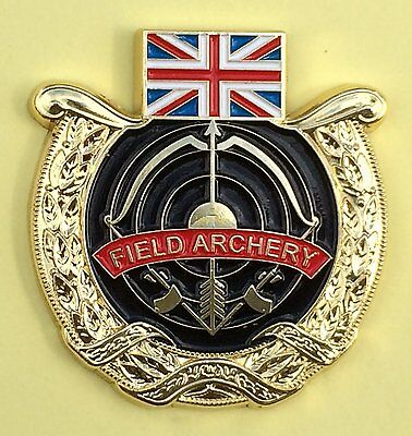 BRITISH FIELD ARCHERY - GB - ENAMELLED ARCHERY PIN BADGE