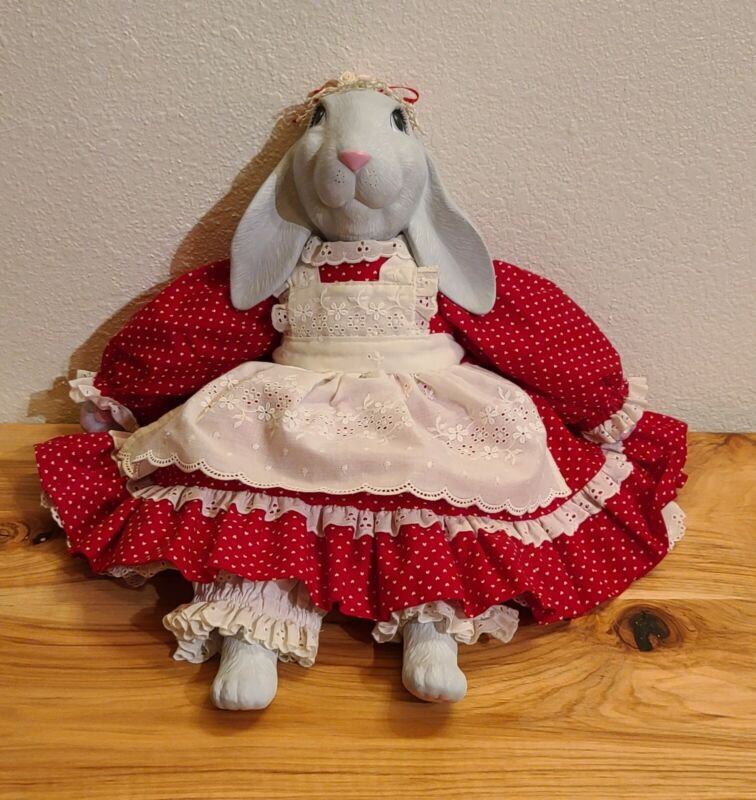 Bunny Rabbit Ceramic Head Doll Easter, Valentine's, Hand crafted