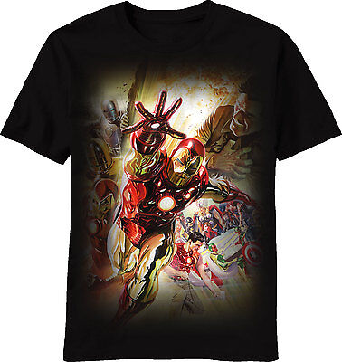 Invincible Iron Man Suits of Stark Adult T-Shirt - Officially Licensed by Marvel](Adult Ironman Suit)